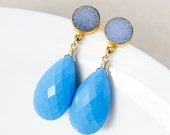 PRE-XMAS SALE Blue Turquoise Earrings – Grey/Blue Druzy