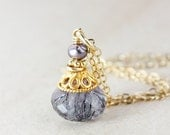 BOXING DAY SALE Purple Freshwater Pearl and Moss Amethyst Necklace - 14k Gold Filled