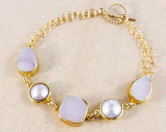 CHRISTMAS SALE Freshwater Button Pearl Bracelet – Druzy – 14K Gold Filled