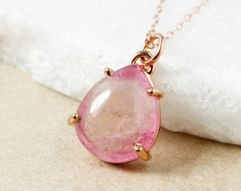 Bi-Color Pink Tourmaline Necklace - Teardrop Tourmaline Pendant - Rose Pink Tourmaline