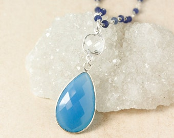 Silver Crystal Quartz & Blue Chalcedony Necklace - Layering Necklace - Dreamy Blue Chalcedony