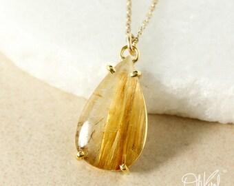 Gold Teardrop Natural Golden Rutile Quartz Pendant Necklace
