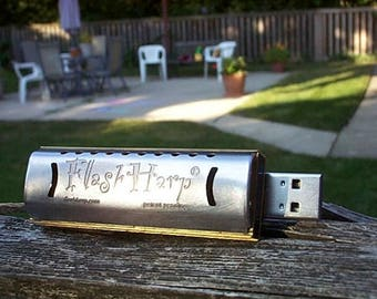 USB 8gb Steampunk Geekery Handmade w Videos FlashHarp Harmonica Bob Dylan, Little Walter, Sonny Terry