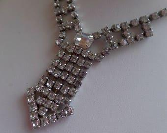 Vintage Crystal Rhinestone Necklace Necktie Pendant Necklace