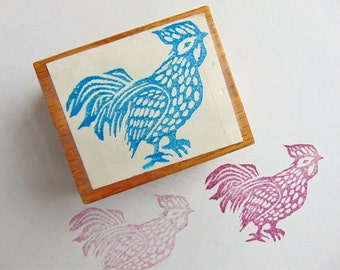 Lunar Chinese New Year of the Rooster CHICKEN Rubber Stamp Hardwood Mounted