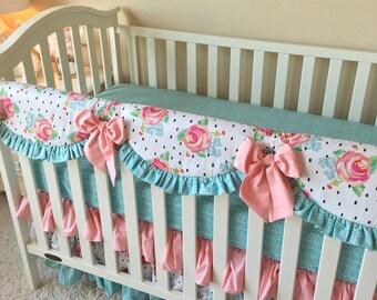 Watercolor Crib Bedding, Blush Crib Bedding, Floral Bumperless Crib Bedding, Floral Dot Baby Bedding, Aqua Crib Bedding