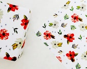 Gift Wrap Sheets - Red Watercolor Floral - Holiday / Everyday - Set of 3 Sheets