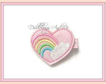 Pink Rainbow Heart Hair Clip, Colorful Rainbow Hair Clip, Girls Rainbow Hair Clip, Toddler Hair Clip, Girls Hair Accessories, Felt Hair Clip