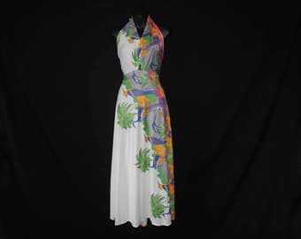 tropical floral maxi gown 70s halter bird novelty print long festival dress small medium large