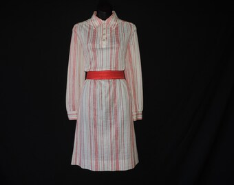 candy striped dress 70s red + white stripe shirtdress medium