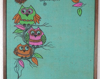vintage owl cork board 60s bulletin board message board hippie wall hanging memo board home organization