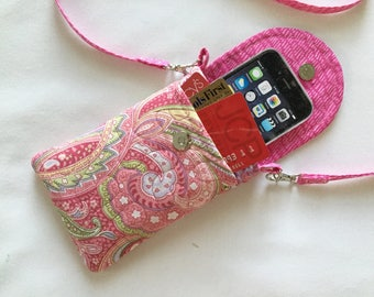 Iphone 6 Case Smart Phone Gadget Case Detachable Neck Strap Quilted Pink Paisley