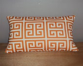 FREE SHIPPING 15x8 Orange and White Geometric Greek key Lumbar Pillow