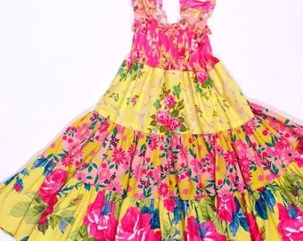 Pink and Yellow Twirly Sundress