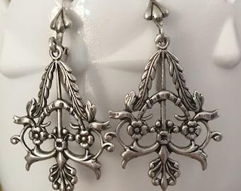 Boho Gypsy Earrings, Antique Silver Chandelier Earrings, Gift For Her