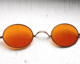 Rare Antique 1800s Sharpshooter Sunglasses // Rare Victorian Amber Sunglass Lenses // Regency 19th Century // Civil War Era // #S1