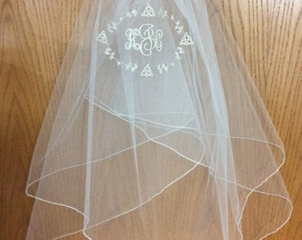 Celtic  Triquetra monogrammed Communion veil