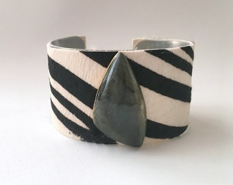 "leather cuff bracelet  - zebra striped hair on hide with labradorite - 1.5"" wide"