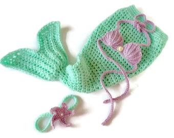 Mermaid Tail Blanket - Baby Mermaid Outfit - Newborn Mermaid Outfit - Crochet Mermaid Tail - Sea Shell Bra - Mermaid Cake Smash - Star Fish