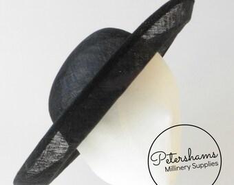 Large Traditional Upturned Brim Deep Crown Sinamay Fascinator Hat Base for Millinery - Black