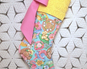 Chenille Stocking | Bright and Cheerful Garden Hats and Flowers Vintage Fabric Stocking — Vintage Chenille Cuff