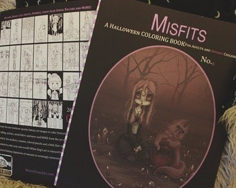 Halloween Coloring book Misfits fantasy lowbrow art big eye girls Vo6 - Adult colouring witches, ghosts, serial killers