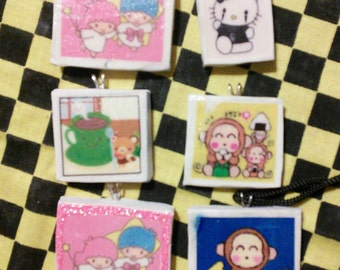 Lot of Polymer Clay Pendant Sanrio Hello Kitty Twin