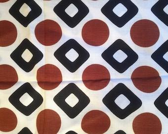 "Vintage 70s geometric Mod Decor Fabric 1970s  2 yards 44x77"" dress weight yellow black white"