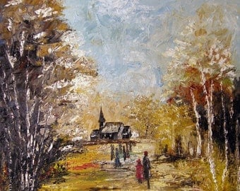 Old Church - Original Textured Oil painting
