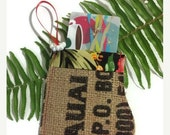 Thanks Is Giving Sale Mitten Christmas Ornament. Gift Card Holder. Secret Santa. Recycled Burlap Coffee Bag. Handmade in Hawaii.