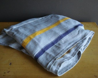 Flyin' High - Vintage Airline Blanket - Blue and Gray Grey and Yellow Striped Blanket - Lufthansa Airlines Blanket