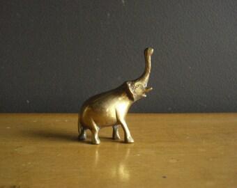 Elephant Brass - Tiny Vintage Brass Elephant Figurine