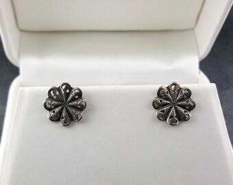 Lacy Sterling Silver Stud Earrings Vintage