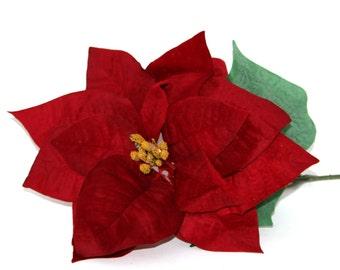 1 Jumbo Red Velvet Poinsettia Stem- Artificial Flowers, Holiday Flowers
