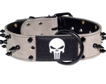 """Punisher Dog Collar - Leather Dog Collar - 2"""" Grey Suede Spiked Leather Dog Collar With Embroidered Punisher Patch"""