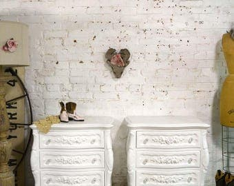 Painted Cottage Chic Shabby Romantic Pair of French Night Tables NT893