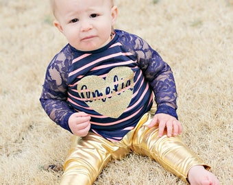 Sizes 12M - 6 - Gold leggings and navy and coral stripe lace/knit raglan shirt-you customize word on shirt