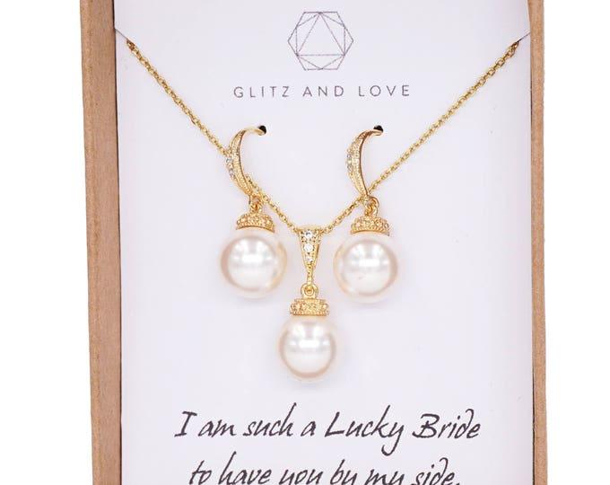 Bridesmaid Earrings, Bridal Pearl Earrings Necklace Jewelry set, Bridesmaid jewelry, wedding earrings, bridal shower gifts idea, Wanika