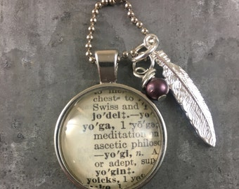 One Word dictionary necklace with feather charm YOGA