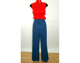 1970s bell bottom pants polyester pants high waist navy blue New Old Stock NOS Mr Fine Size L