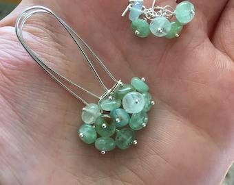 Peruvian Opal Rondelle Cluster Earrings. Sterling silver kidney wires.