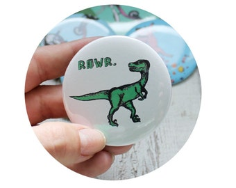 Dinosaur Pin, Stocking Stuffer, Bottle Opener OR Pin-back Button, Prehistoric Animal, Velociraptor RAWR, Tyrannosaurs Rex, Green and white