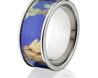 New 10mm Titanium Licensed RealTree Purple Camo Ring Camo Wedding Bands Purple RealTree Titanium Wedding Rings : 10F-AP-Purple