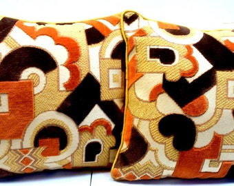 Mid Century Modern Set of Two Gold Beige Dark Brown Geometric Pillows