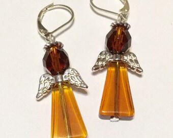 Amber Angel Fairy Earrings - Czech Glass Beads Silver Plated Wings