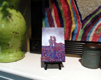 "Miniature Print on Canvas with Easel from Original Abstract Painting by Bryan Dubreuiel 6""h by 4""w Glazed Print"