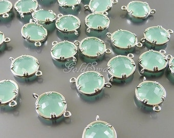 2 mint green 10mm faceted round glass connectors, bridal / wedding jewelry supplies 5014R-MI-10