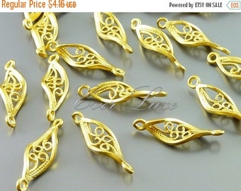 15% SALE 4 twisted 16mm leaf filigree jewelry connectors, modern jewelry / jewellery designs, findings 1757-MG-16 (matte gold, 16mm, 4 piece