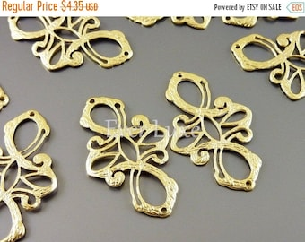 15% SALE 2 Delicate cross filigree connectors, jewelry pendants charms, matte gold brass, jewelry making supplies 1178-MG (matte gold, 2 pie