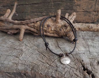 Stering Silver Moon Adjustable Leather Bracelet